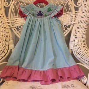 Banana Split Dresses - Girls 18M sea creature smocked dress